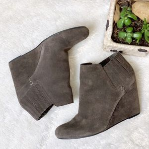 DV by Dolce Vita Taupe Suede Wedge Booties